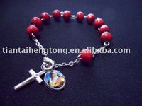 wood bead rosary bracelet