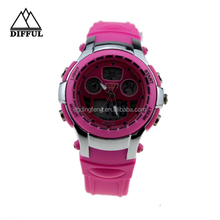 2015 popular promotional flashing lighting 3 atm water resistant waterproof dual movement analog digital watch for kids
