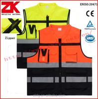wholesale security EN20471 detachable tear away zipper reflective vest with pockets