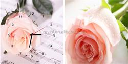 Music with Rose Decorative Wall Clock Canvas 3D Wall Clock Sticker Home Decor Art MDF Wooden Wall Clock
