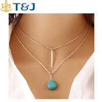 S>>> 2015 Fashion Bohemia Turquoise Double Chain Necklaces Jewellery Punk Classic Summer Body Chain Necklaces Jewellery/