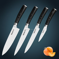 Free shipping Huiwill Japan AUS-8 stainless steel kitchen knife set with forged black G10 handle paring knives set