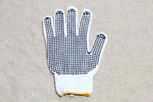 Wholesale cotton fabric grip dot palm gloves