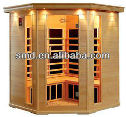 smartmak 4 person wood house corner infrared sauna house with ceramic heater
