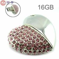 High Quality 16GB/4GB USB Flash Drive Heart Shape Crystal Jewelry USB Flash Memory Drive Keychain