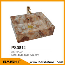 BAISHI Bathrooms and Sanitary Ware High Quality Shape Bathroom Marble Atr Wash Basin