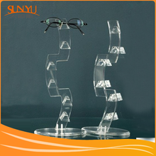 Floor Standing Clear Crystal Acrylic Sunglasses Shelf With Base