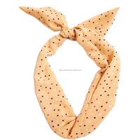 Fashion girls hair accessory Dot printed bow Headband