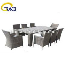 Granco KAL126 wooden top 9pcs covered rattan furniture dining set
