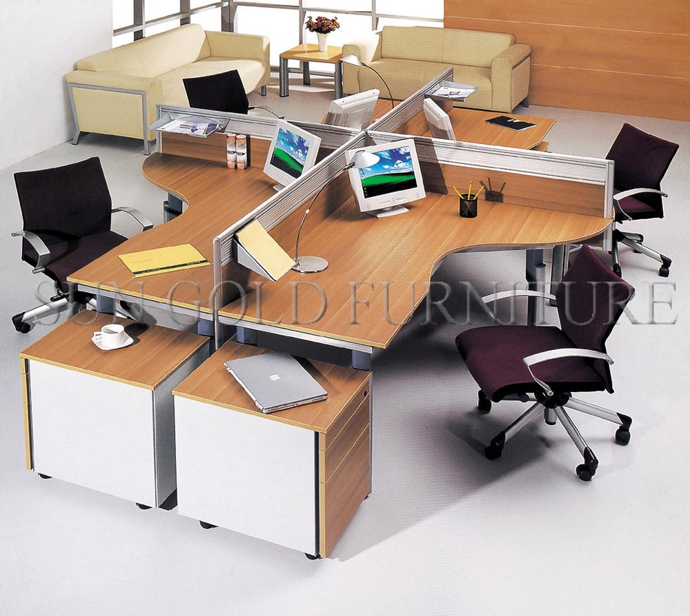 Round type modern office workstation for 4 people sz for Office desk layout ideas