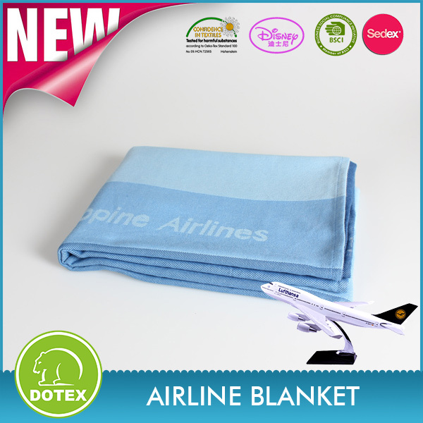 100% modacrylic material Jacquard woven airline blanket for sale