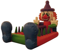 funny clown inflatable floating ball race, inflatable sports games