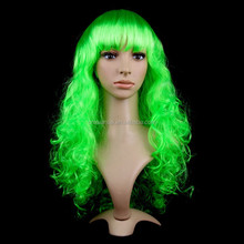 Wholesale green color synthetic long curly wigs