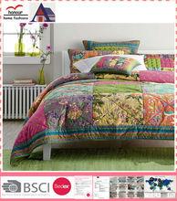 Colorful Patchwork Printed Microfiber Hot Sale Adult Bedroom Set Quilt