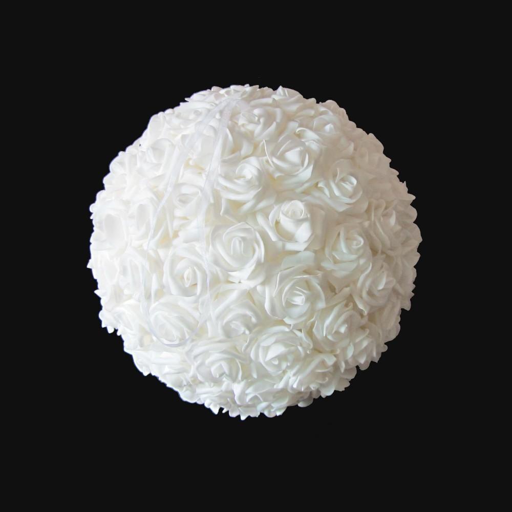 """Ivory Flower Ball: 30cm (12"""") Ivory Foam Rose Flower Ball"""