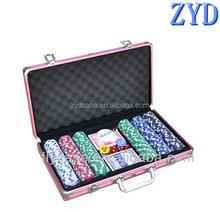 Custom made aluminum game poker chip case,pink,abs chip case