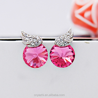 Fashion Round Crystal Wing Shaped Earring Beautiful Swarov Studs Earring For Girls