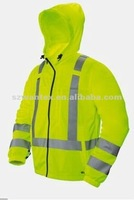 fashion High visibility Hi Vis Zip Up Front REFLECTIVE Hooded Sweatshirt