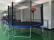 2015 new design 12FT trampoline with safety net and basketball stands certificate CE ,GS ,EN71