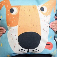 Colorcasa home textile dog face patterned pillowcase cotton fabric pillow cover decorative item for bed&sofa(ETH121)