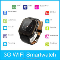 Wifi smart watch android 4.4 dual core wrist watch phone support sim card