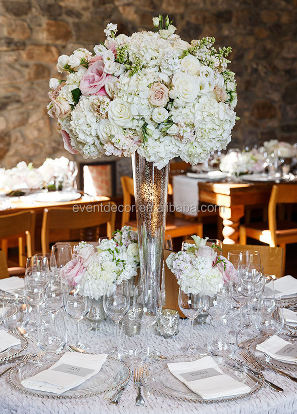 Cheap tall glass vase for wedding flowers arrangement
