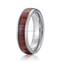 6mm wedding band titanium wood ring
