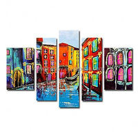 Free Shipping Hand-painted landscape abstract modern Painting on canvas - Set of 5 piece canvas art