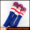3pcs/set red+blue+white Golf Driver Fairway Wood Head Covers knitting Head cover