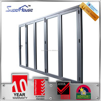 New design double glazed aluminium sliding door with hidden hinged comply with As2047 As2208 As1288 standard