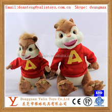 Animated electronic plush animal toys squirrel with dress