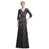 Starzz 2016 3/4 Sleeve V-Neck Black Lace Evening Dress 8 Size US 2~16 ST000012-1