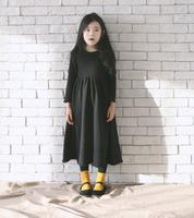 Hot Sale Winter Girls Dress Black Long Style Child Dress Fashion Long Sleeve Causal Dress Kids Wear Free Shipping GD81108-79