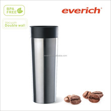 2014 new style 450ml double wall stainless steel vacuum insulated travel coffee cup with push button lid