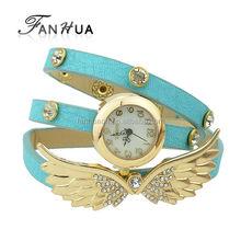 New Trendy Multilayer Pu Leather And Rhinestone Wing Long Women Wrist Watch