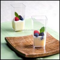 3 oz Square Clear Tall Cube Plastic Shot Glass / Dessert Tasting Jello Cups
