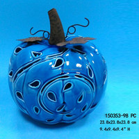 Ceramic Medium Flat Blue Halloween Pumpkin Metal Stem