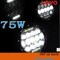 "2015 Super Bright 75W led work light,7"" round led driving light,75w led offroad hadlight for jeep /suv / 4WD/ATV"