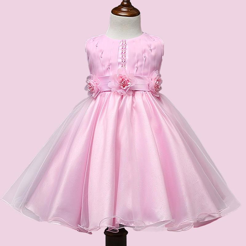 2017 bebés Rosa frock diseños para niñas flor puffy vestidos para ...