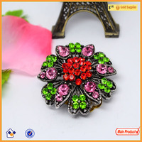 Hot sale magnetic shiny crystal flower shape jewelry elegant brooch pin #5280