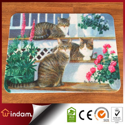Durable low price non slip polyester cute cat mat with pvc baking