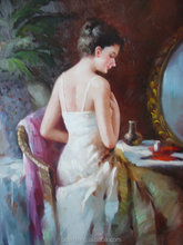 impressionism style nude woman oil painting