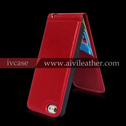 red premium leather mobile/cell phone cover for iphone 5/5s/5c flip leather case with credit card slots