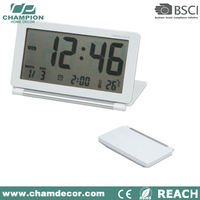 Digital led desk clock promo with card holder , small lcd smart table clock with card holder