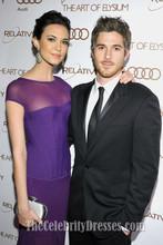 Celebrity Dress Odette Yustman Women Long Purple Dress Art Of Elysium 2012 Red Carpet