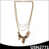 three layers gold thin chain tassel crystal charming floating locket