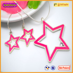 Wonderful jewelry charms pink star attractive pendant necklace and earrings sets # 15614a22500