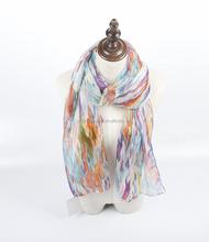 2015 Most popular rainbow stripe voile fashionable scarf shawl