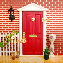 Doll house Wood Fairy Door Painted Exterior Door With 4 Panel Red OA011C-4B