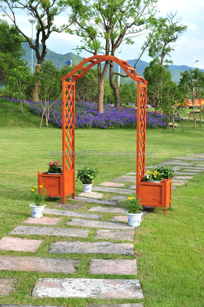 Wooden Garden Arches With Planters Images